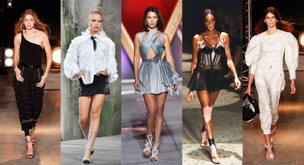 <p>The models up for the 2017 award are hardly surprising. The Hadid sisters have once again been nominated (Gigi was last year's winner) with diversity advocates Adwoa Aboah and Winnie Harlow also in the running. But Cindy Crawford's model daughter and breakout star of the SS18 season, Kaia Gerber, may just pip them all to the post.<br /><em>From left to right: Gigi Hadid, Adwoa Aboah, Bella Hadid, Winnie Harlow, Kaia Gerber.</em><br /><i>[Photo: Getty/Rex]</i> </p>