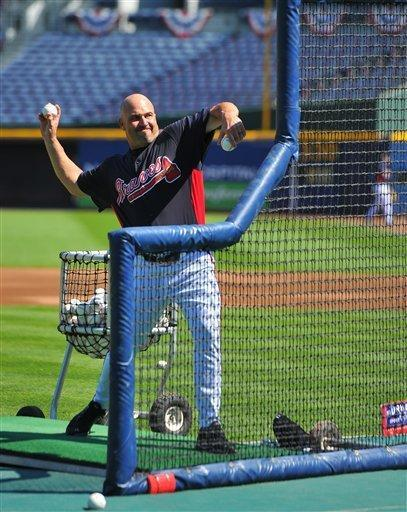 Atlanta Braves manager Fredi Gonzalez throws batting practice at Turner Field Thursday, Oct. 4, 2012, in Atlanta. The Braves take on St. Louis Cardinals in the NL wild-card baseball game on Friday. (AP Photo/Atlanta Journal-Constitution, Brant Sanderlin) MARIETTA DAILY OUT; GWINNETT DAILY POST OUT; LOCAL TV OUT; WXIA-TV OUT; WGCL-TV OUT