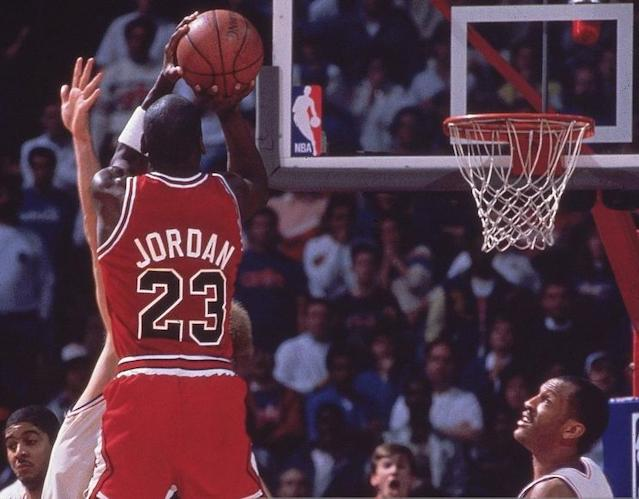 "Bulls legend Michael Jordan made ""The Shot"" over Cleveland's Craig Ehlo as time expired on their 1989 first-round playoff series. (Manny Millan/Sports Illustrated via Getty Images)"