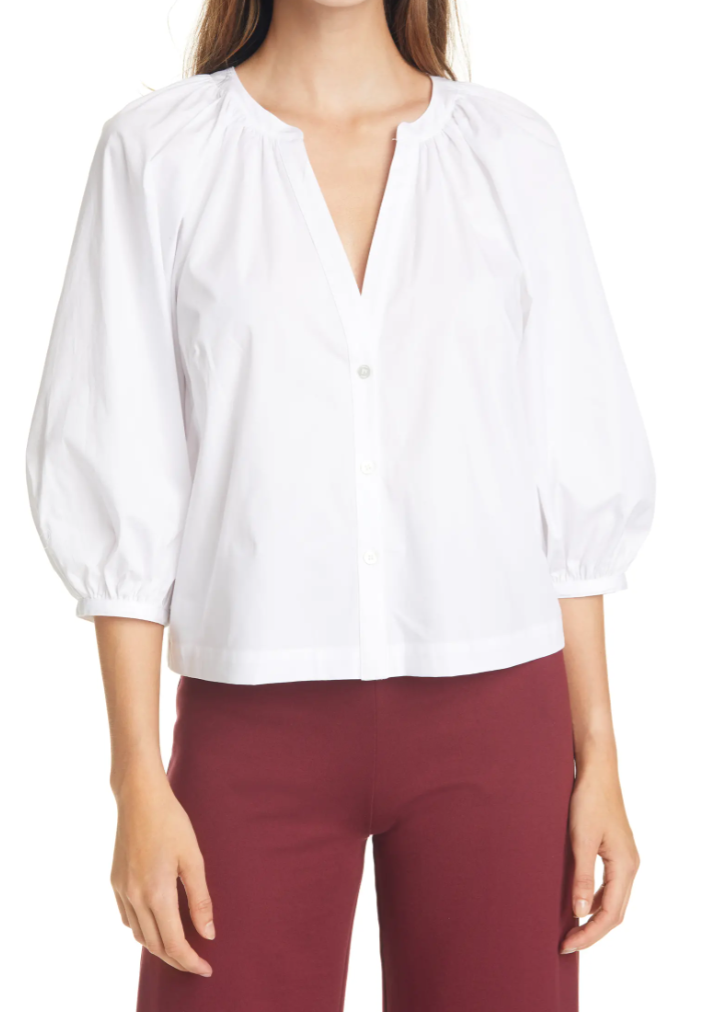 STAUD Dill Stretch Cotton Button-Up Blouse