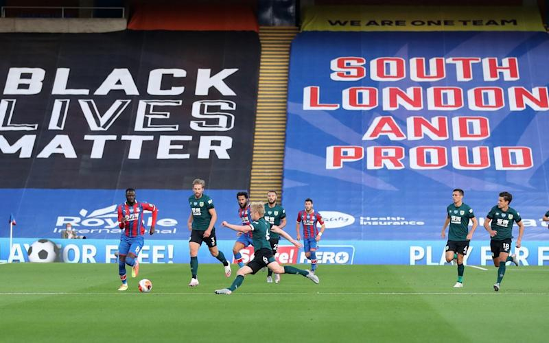 Palace, like many other Premier League clubs, have Black Lives Matter banners covering their seats - Reuters