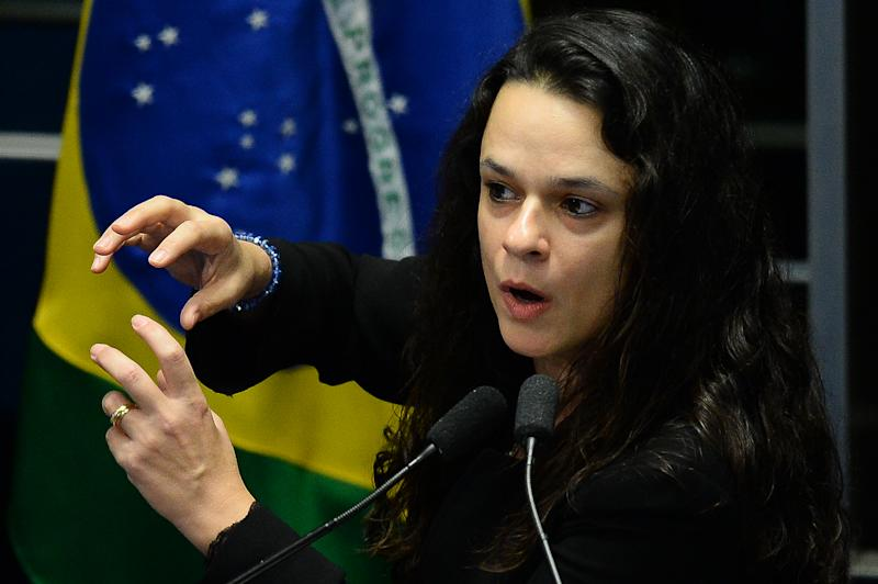Brazilian jurist Janaina Paschoal, co-author of the complaint against suspended president Dilma Rousseff, speaks during the Senate's debate impeachment trial against Rousseff at the National Congress in Brasilia, on August 30, 2016. Brazil's suspended president Dilma Rousseff faces judgment Tuesday in a Senate vote expected to remove her from office despite her dramatic claim of being the victim of a coup. The country's first female president confronted her accusers in a marathon session Monday, telling the Senate that she is innocent and warning that the Brazilian democracy is in danger. She is accused of having taken illegal state loans to patch budget holes in 2014, masking the country's problems as it slid into its deepest recession in decades. / AFP / ANDRESSA ANHOLETE (Photo credit should read ANDRESSA ANHOLETE/AFP via Getty Images)