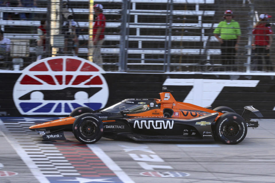 Pato O'Ward makes his way down the front stretch during an IndyCar Series auto race at Texas Motor Speedway on Sunday, May 2, 2021, in Fort Worth, Texas. (AP Photo/Richard W. Rodriguez)