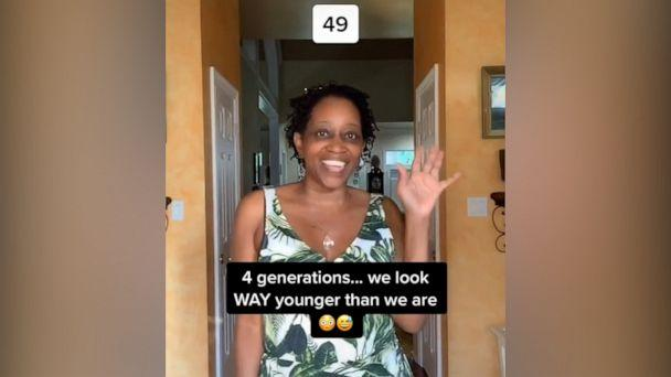 PHOTO: Lizi Harden, 20, her mother, Edith Davidson, 49, Auntie Edith 'Ray Ray' Keys, 67 and Grandma Hattie, 102, took on TikTok's generations challenge. Seen in this video screen grab is Edith Davidson. (TikTok/liziharden)
