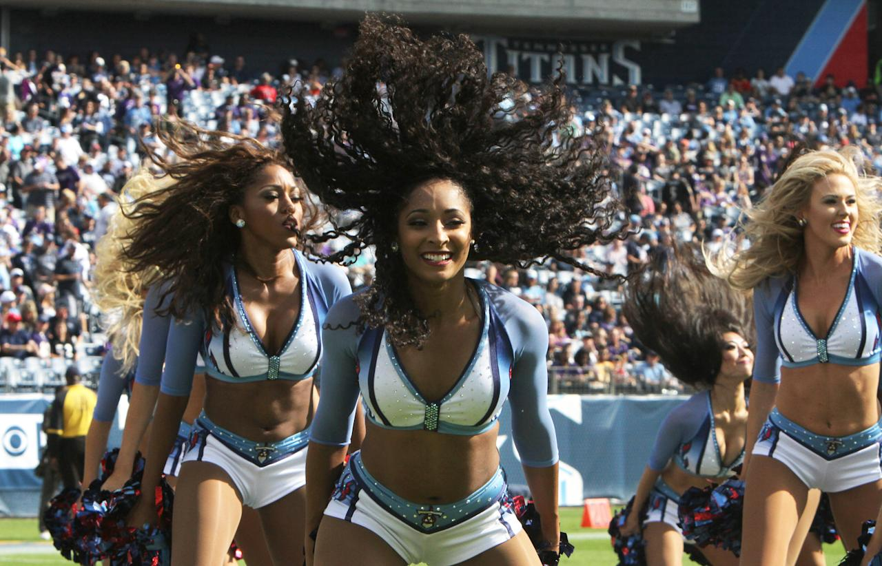 <p>Tennessee Titans cheerleaders entertain the crowd during a timeout of the game against the Baltimore Ravens on November 05, 2017 at Nissan Stadium in Nashville, Tennessee. (Photo by Matthew Maxey/Icon Sportswire via Getty Images) </p>