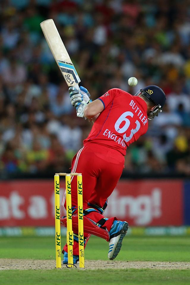 SYDNEY, AUSTRALIA - FEBRUARY 02:  Jos Buttler of England bats during game three of the International Twenty20 series between Australia and England at ANZ Stadium on February 2, 2014 in Sydney, Australia.  (Photo by Mark Kolbe/Getty Images)