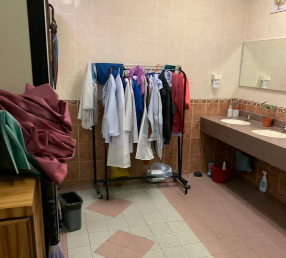 The changing area for the surgical staff at the smaller operation theatre in Penang General Hospital.