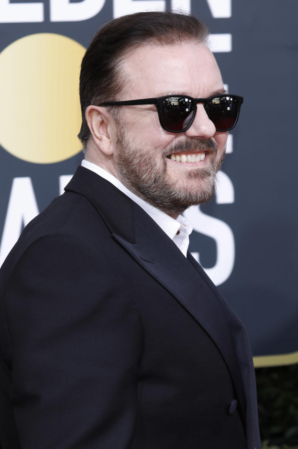 LOS ANGELES, CALIFORNIA, UNITED STATES - JANUARY 5, 2020 -                          Ricky Gervais photographed on the red carpet of the 77th Annual Golden Globe Awards at The Beverly Hilton Hotel on January 05, 2020 in Beverly Hills, California.- PHOTOGRAPH BY P. Lehman / Barcroft Media (Photo credit should read P. Lehman / Barcroft Media via Getty Images)