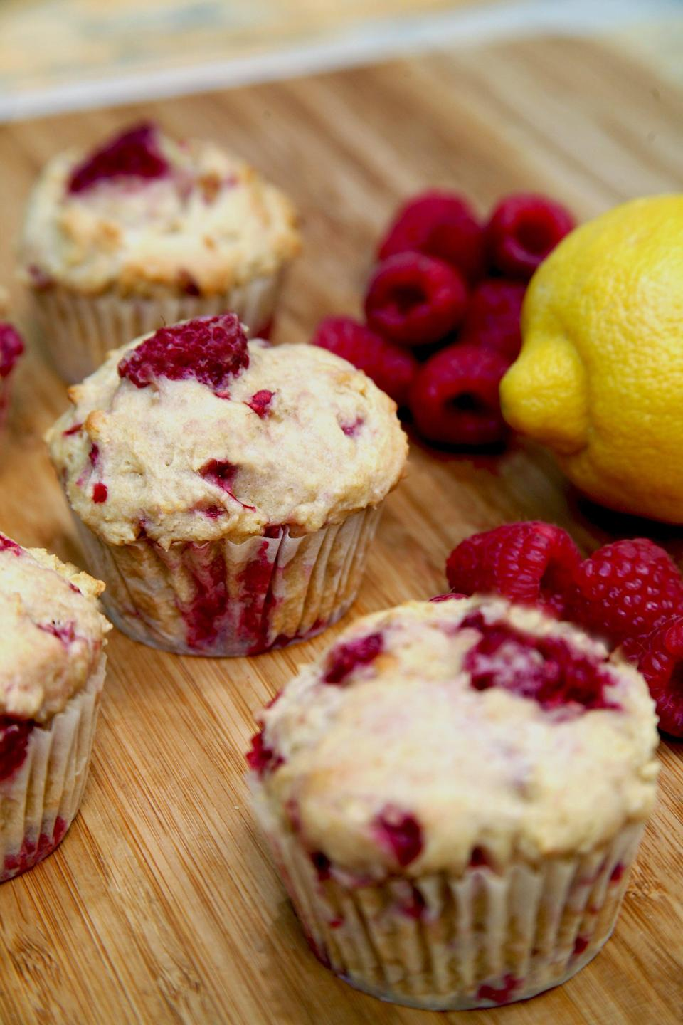 "<p>These are so light and summery, with bursts of juicy raspberries - perfect to bake up for brunch.</p> <p><strong>Calories:</strong> 180 per muffin<br> <strong>Protein:</strong> 5.4 grams</p> <p><strong>Get the recipe:</strong> <a href=""https://www.popsugar.com/fitness/Recipe-Low-Sugar-High-Protein-Lemon-Raspberry-Muffins-17842967"" class=""link rapid-noclick-resp"" rel=""nofollow noopener"" target=""_blank"" data-ylk=""slk:low-sugar, high-protein lemon raspberry muffins"">low-sugar, high-protein lemon raspberry muffins</a></p>"