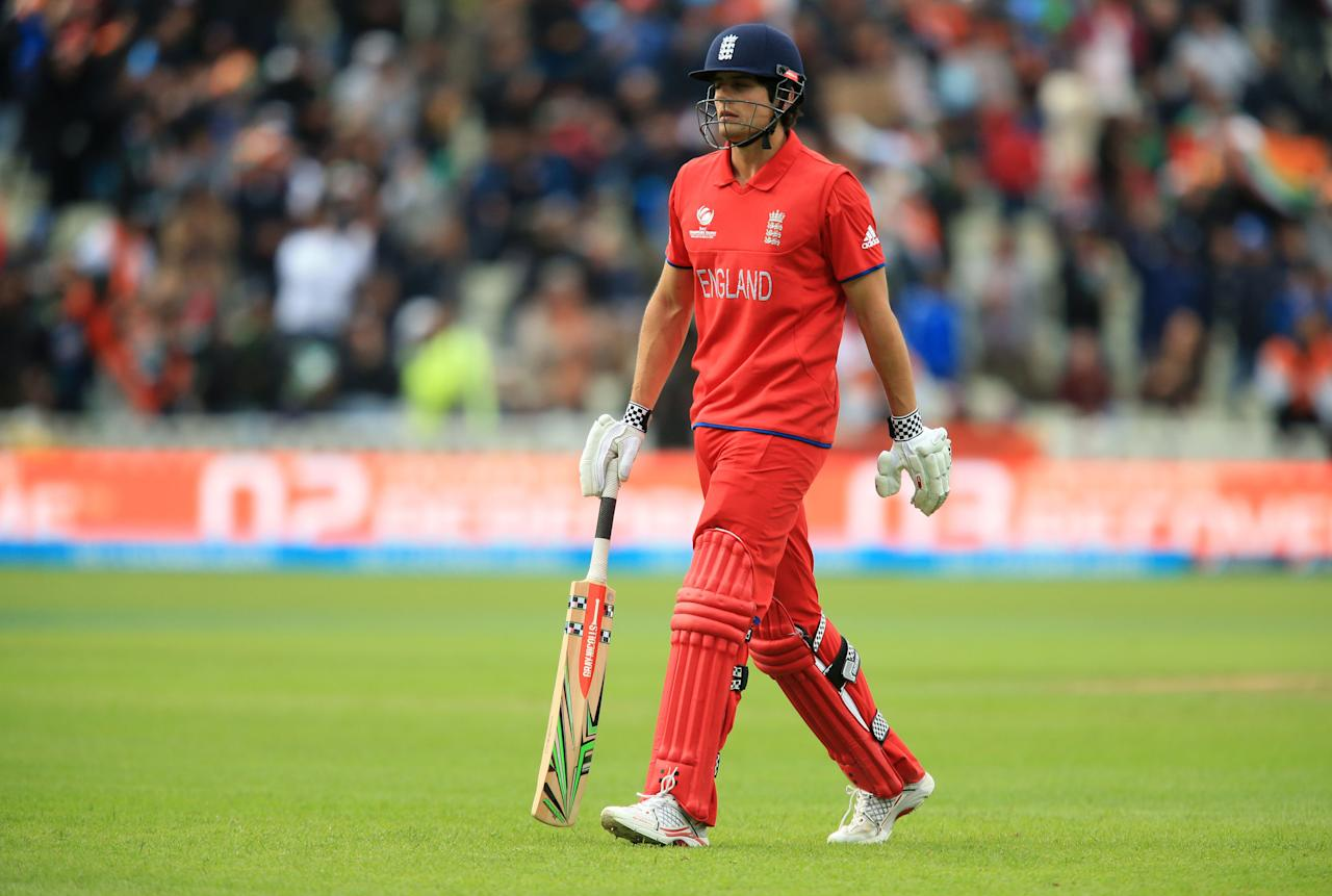 England's Alastair Cook trudges off after being given out during the ICC Champions Trophy Final at Edgbaston, Birmingham.