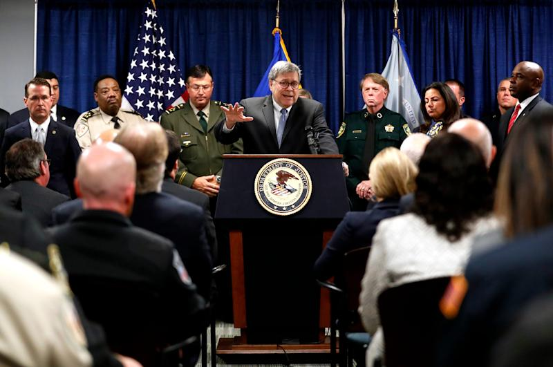 Attorney General William Barr visits the Clifford Davis-Odell Horton Federal Building in Memphis, Tenn., on Nov. 13 to announce the launch of Project Guardian, a nationwide effort to reduce gun violence.