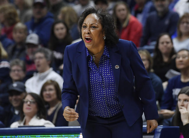 Buffalo coach Felisha Legette-Jack reacts during the first half of the team's second-round women's college basketball game against Connecticut in the NCAA tournament Sunday, March 24, 2019, in Storrs, Conn. (AP Photo/Jessica Hill)