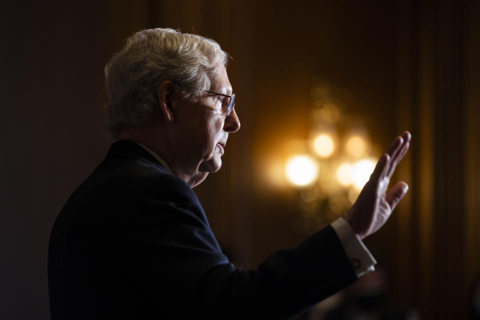 Senate Majority Leader Mitch McConnell of Kentucky, speaks to the media after the Republican's weekly Senate luncheon, Tuesday, Dec. 8, 2020 at the Capitol in Washington. (Jim Lo Scalzo/Pool via AP)
