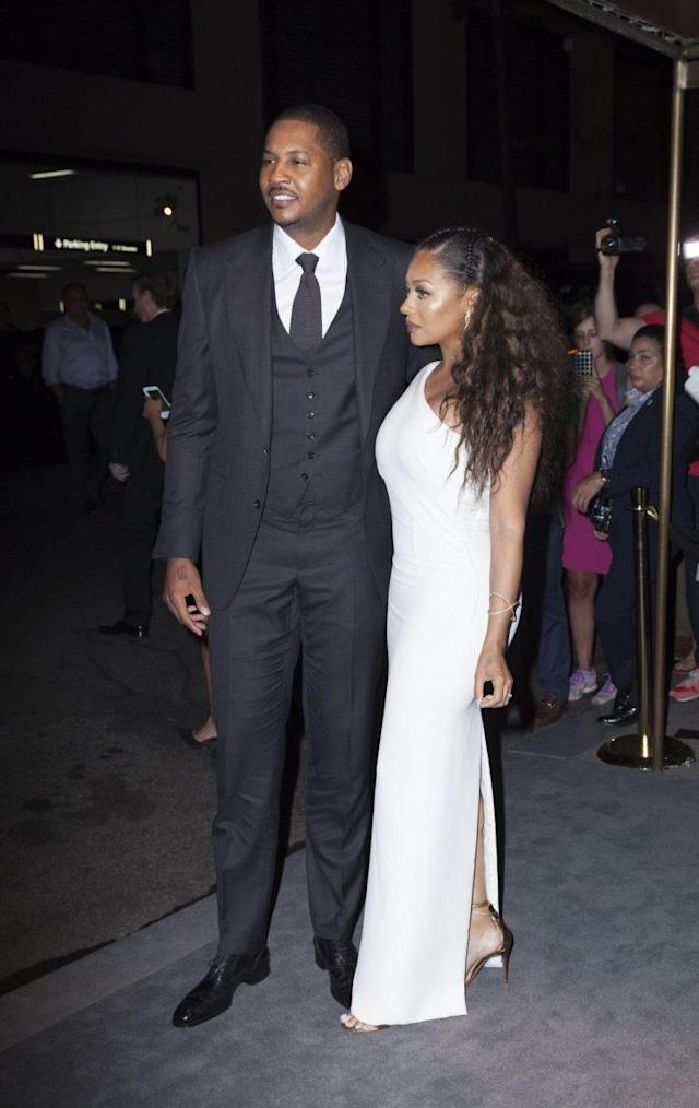 Carmelo Anthony and La La Anthony at arrivals for Tom Ford Autumn/Winter 2016 Menswear and Womenswear Collections Presentation, New York, NY, September 7, 2016. (Photo: Lev Radin/Everett Collection)