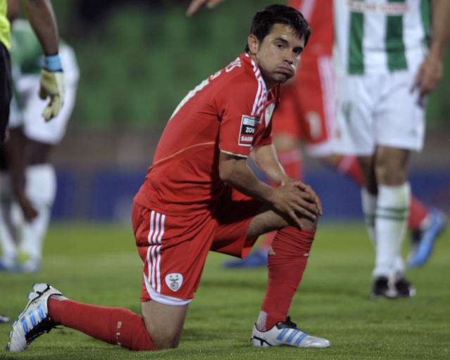Benfica's Argentinian forward Javier Saviola reacts during the Portuguese super league football match against Rio Ave at the Arcos Stadium in Vila do Conde, on April 29, 2012. The match finished with a 2-2 draw. AFP PHOTO / MIGUEL RIOPAMIGUEL RIOPA/AFP/GettyImages