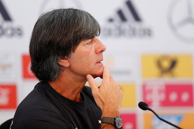 Soccer Football - FIFA World Cup - Germany Press Conference - Eppan, Italy - May 24, 2018 Germany coach Joachim Loew during the press conference REUTERS/Leonhard Foeger