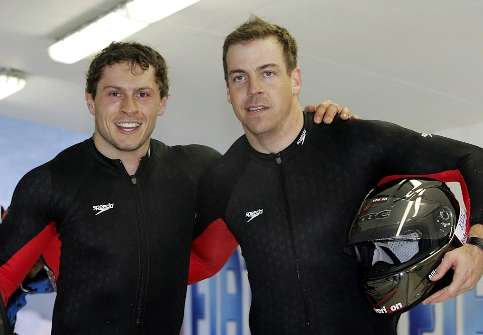 Pavle Jovanovic, left, with teammate Todd Hays after finishing third in the two-man bobsled at the 2005 world championships in Austria.