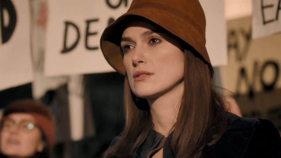 Keira Knightley as activist Sally Alexander in 'Misbehaviour'. (Credit: Pathe)