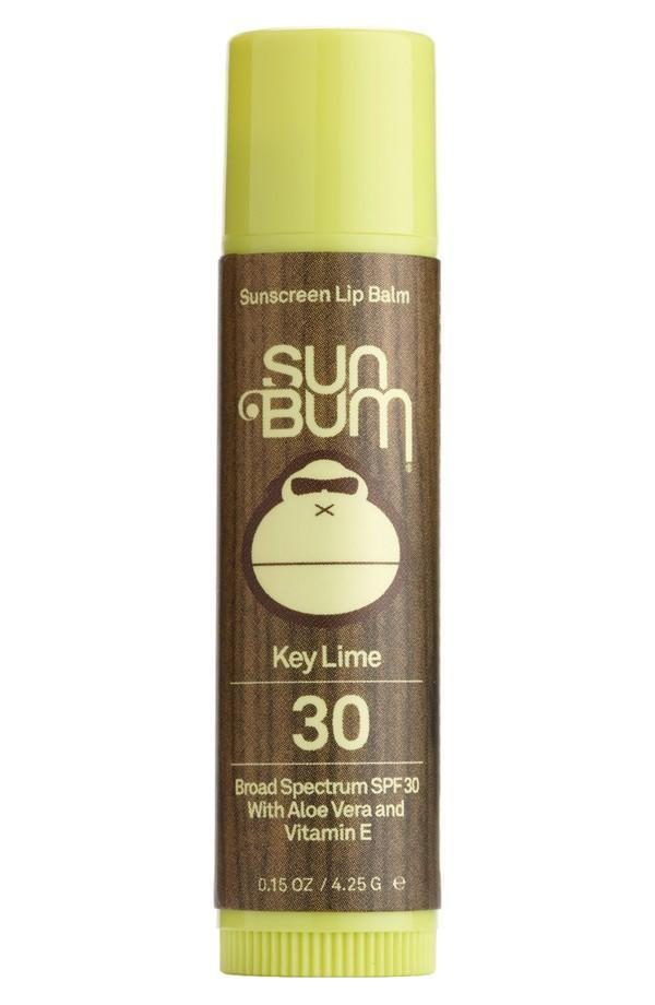 Get transported to the tropics even if you're laying out by a kiddie pool in the backyard with yummy scents like banana, coconut, mango, pomegranate, and key lime. Sun Bum Scented Lip Balm Broad Spectrum SPF 30+ ($4)