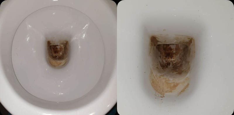 Two toilet bowls. (left) Round toilet bowl with brown calcification stains, (right) rectangular toilet bowl with same brown stains.
