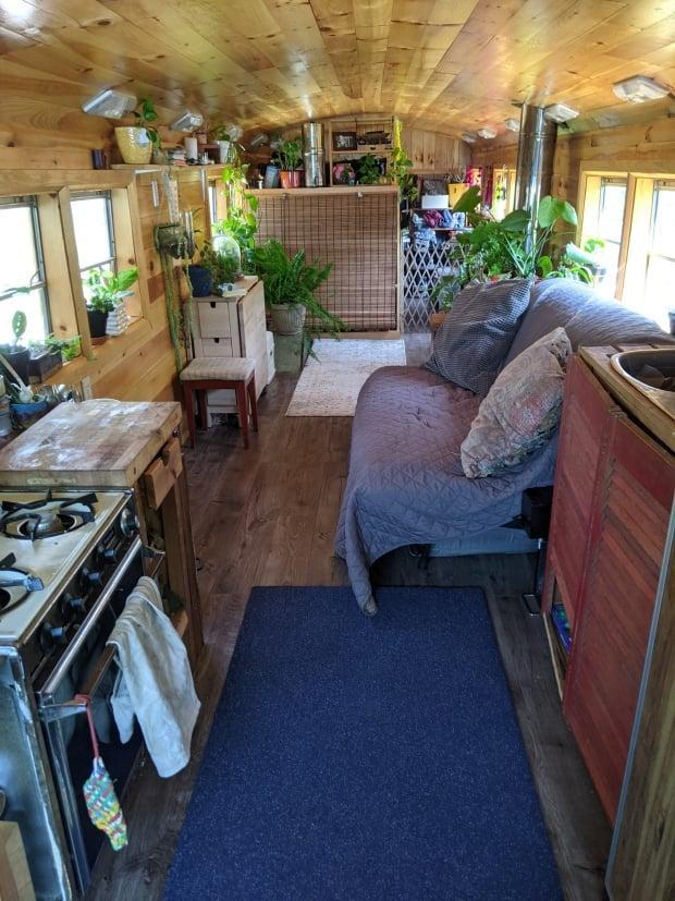 Dawn's bus is off-grid and powered by solar energy.