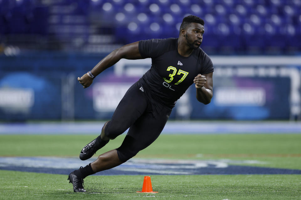 Connecticut OL Matt Peart runs a drill during the NFL Combine. (Photo by Joe Robbins/Getty Images)