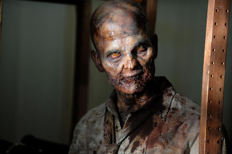 "This undated publicity photo provided by AMC shows a zombie in a scene from AMC's TV show, ""The Walking Dead,"" Season 3, Episode 1. The show airs Sundays at 9 p.m. EST on AMC. (AP Photo/AMC, Gene Page)"