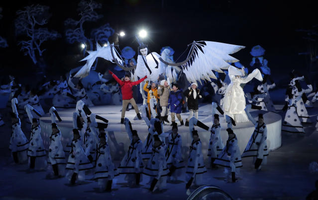 <p>Children perform during the opening ceremony of the 2018 Winter Olympics in Pyeongchang, South Korea, Friday, Feb. 9, 2018. (AP Photo/Julie Jacobson) </p>