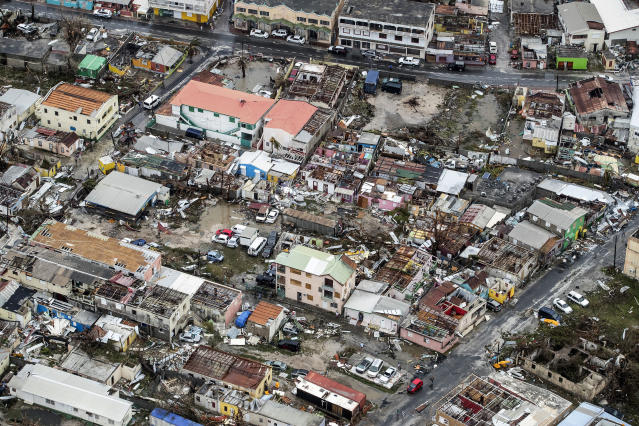 <p>Storm damage in the aftermath of Hurricane Irma, in St. Maarten. Irma cut a path of devastation across the northern Caribbean, leaving thousands homeless after destroying buildings and uprooting trees, on Sept. 6, 2017. (Photo: Gerben Van Es/Dutch Defense Ministry via AP) </p>