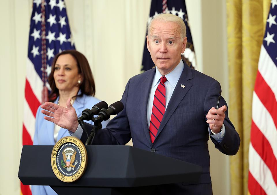 WASHINGTON, DC - JUNE 24: U.S. President Joe Biden delivers remarks alongside Vice President Kamala Harris on the Senate's bipartisan infrastructure deal at the White House on June 24, 2021 in Washington, DC. Biden said both sides made compromises on the nearly $1 trillion infrastructure bill (Photo by Kevin Dietsch/Getty Images)
