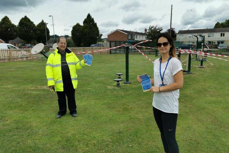 Councillor David Evans and CRT officer Hannah Thomas at the playground and outdoor gym on Newington Way in Craven Arms. The playground has been closed as a precautionary measure to help stop the spread of coronavirus (Shropshire Council)