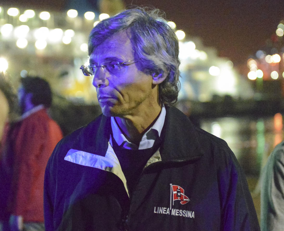 Stefano Messina, managing director of the Ignazio Messina & C. SpA Italian shipping line, arrives at Genoa harbor, northern Italy, where one of his cargo ships crashed into the port control tower killing at least three people, Tuesday, May 7, 2013. A half-dozen people remain unaccounted for early Wednesday, after a cargo ship identified as the Jolly Nero of the Ignazio Messina & C. SpA Italian shipping line, slammed into the port. (AP Photo/Marco Balostro)