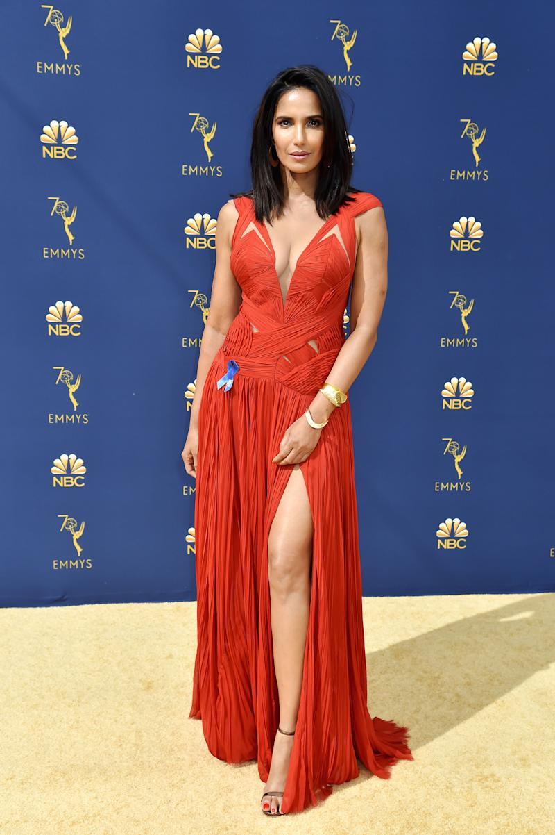 Padma Lakshmi Repeated A Red Carpet Look But She Did It With Purpose Chose To Re Wear Plunging Gown Designed By J Mendel On The 2018 Emmys