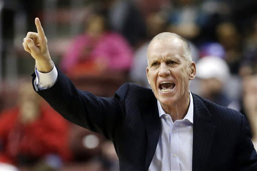 Philadelphia 76ers head coach Doug Collins directs his team during the first half of an NBA basketball game against the Indiana Pacers, Wednesday, Feb. 6, 2013, in Philadelphia. (AP Photo/Matt Slocum)
