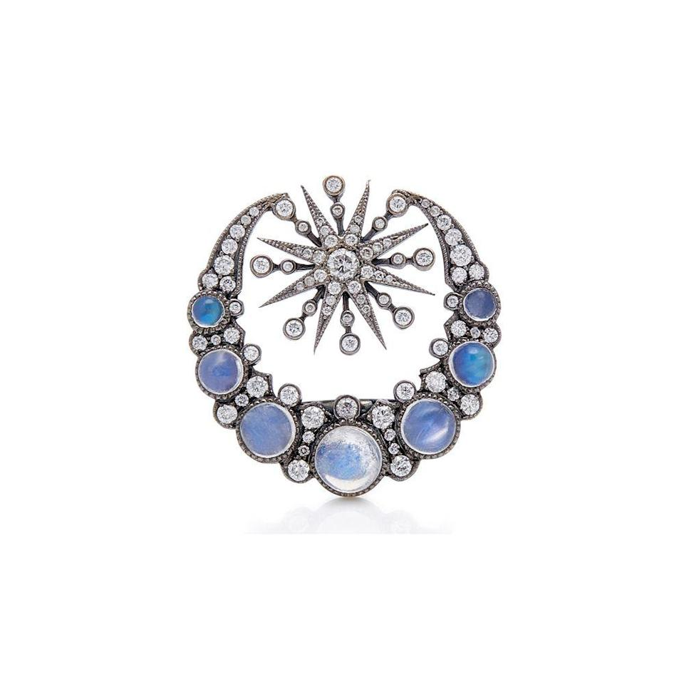 """<p><a class=""""link rapid-noclick-resp"""" href=""""https://www.colettejewelry.com"""" rel=""""nofollow noopener"""" target=""""_blank"""" data-ylk=""""slk:SHOP NOW"""">SHOP NOW</a></p><p>Bluish moonstone cabochons and twinkling diamonds set in black gold give Colette's crescent moon ring a distinctly mystical vibe. </p><p>Moonstone, diamond and black gold ring, £5,000, Colette</p>"""
