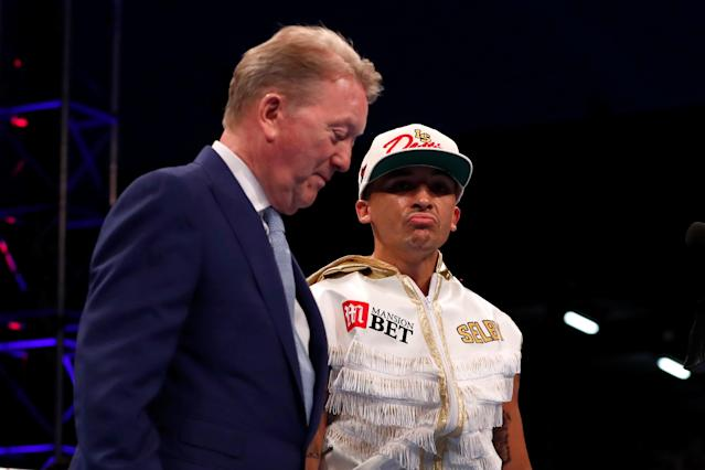 Boxing - Lee Selby vs Josh Warrington - IBF World Featherweight Title - Elland Road, Leeds, Britain - May 19, 2018 Lee Selby with promoter Frank Warren before the start of the fight Action Images via Reuters/Peter Cziborra
