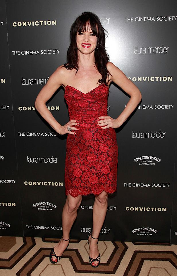 """<a href=""""http://movies.yahoo.com/movie/contributor/1800019350"""">Juliette Lewis</a> at the New York Cinema Society screening of <a href=""""http://movies.yahoo.com/movie/1810071450/info"""">Conviction</a> on October 12, 2010."""