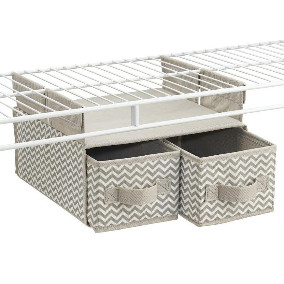 """<p>There are just somethingsyou don't know where to put(hello, lingerie). For your most intimate items, you need this storage organizer ($12, <a rel=""""nofollow"""" href=""""https://www.amazon.com/mDesign-Chevron-Hanging-Organizer-Shelving/dp/B01BI72KCO/?tag=syndication-20"""">amazon.com</a>) with two pull-out drawers that you can attachunderneathwire shelving.</p>"""
