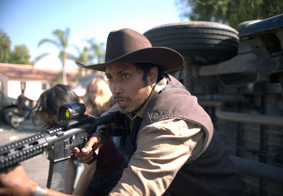 """This image released by Universal Pictures shows Tenoch Huerta in a scene from """"The Forever Purge,"""" directed by Everardo Valerio Gout. (Universal Pictures via AP)"""