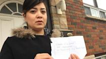 Muslim woman told to 'go back home' in note found in mailbox
