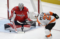 Washington Capitals goaltender Craig Anderson (31) stops the puck next to Philadelphia Flyers left wing James van Riemsdyk (25) during the third period of an NHL hockey game Saturday, May 8, 2021, in Washington. The Capitals won 2-1. (AP Photo/Nick Wass)