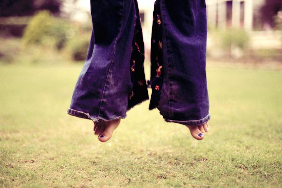 <p>Hoping your parents wouldn't have a fit after you cut your jeans and sewed in fabric to make your bell bottoms even WIDER. </p>