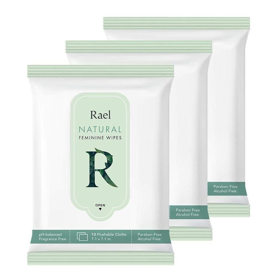 <p>Created from 98 percent natural pulp, the pH-balanced <span>Rael Natural Feminine Wipes</span> ($9 for three packs of 10 wipes) have an eco-friendly draw. They're infused with botanical extracts that the brand claims are safe for sensitive skin, like aloe and camellia sinensis leaf extracts and grapefruit extract. But, hands down, the most convenient thing about these fragrance-free wipes is that they're flushable.</p>