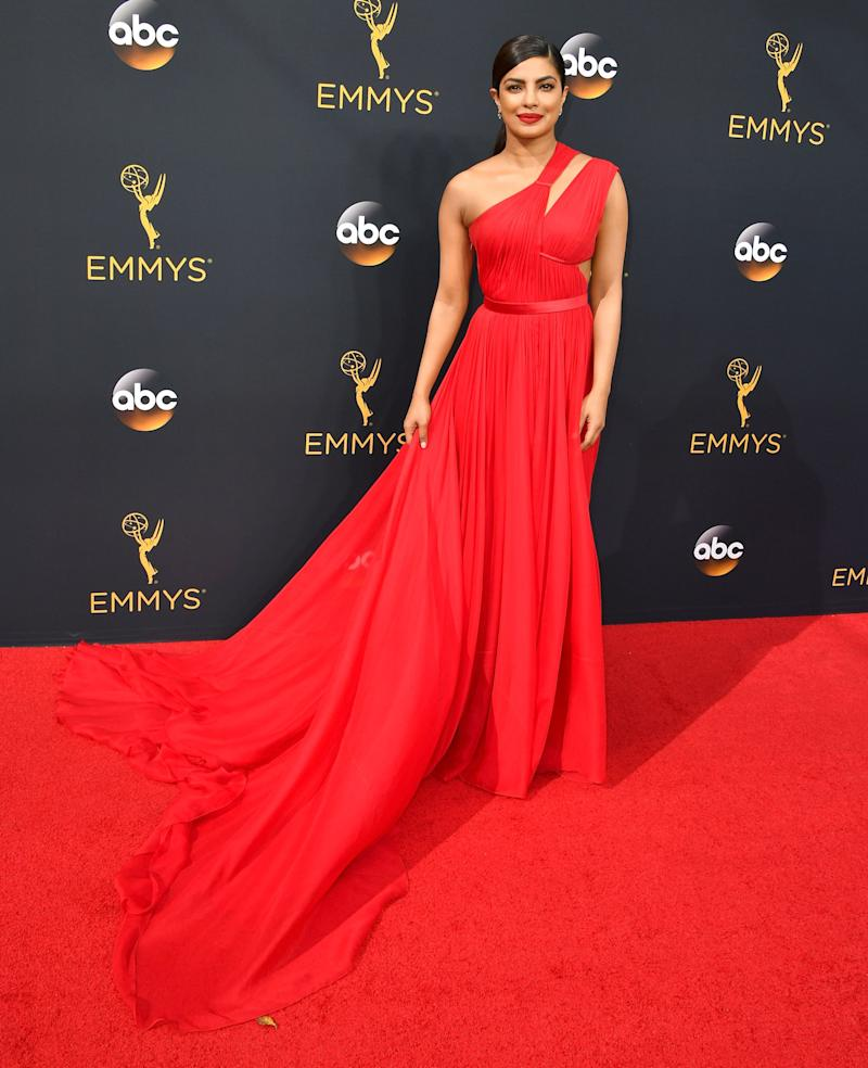 Priyanka Chopra, in an assymetric Jason Wu gown, arrives at the 68th Annual Primetime Emmy Awards at Microsoft Theater on September 18, 2016 in Los Angeles, California.