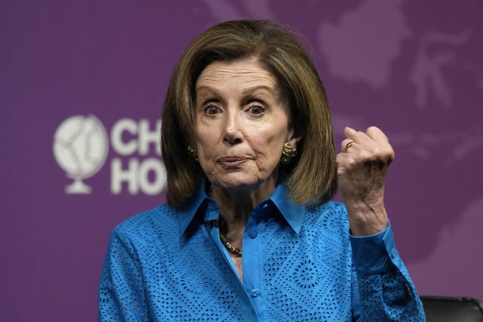 The Speaker of the United States House of Representatives, Nancy Pelosi, speaks at Chatham House, the Royal Institute of International Affairs, in London, Friday, Sept. 17, 2021.(AP Photo/Frank Augstein)