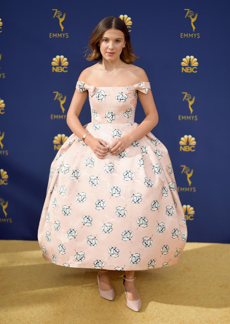 LOS ANGELES, CA - SEPTEMBER 17: Millie Bobby Brown attends the 70th Emmy Awards at Microsoft Theater on September 17, 2018 in Los Angeles, California. (Photo by Matt Winkelmeyer/Getty Images)