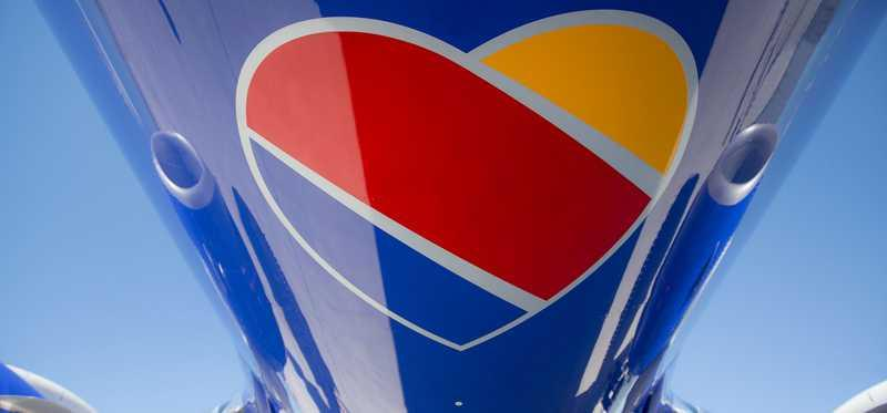 Underside of a Southwest airplane showing logo.