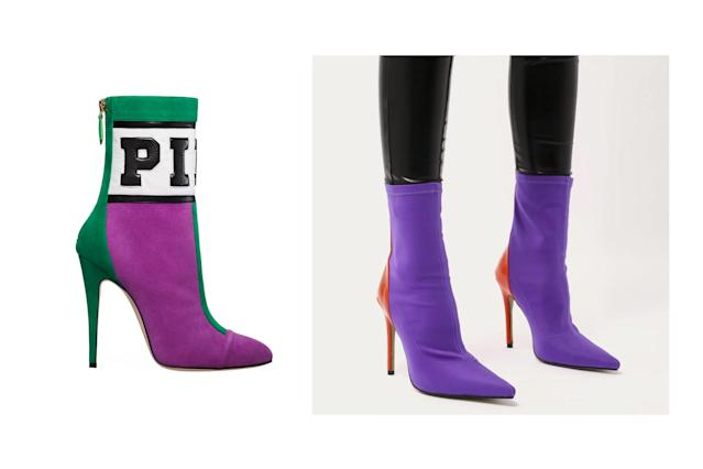 "<p>Brian Atwood for Victoria's Secret ""Pink"" two-tone sock booties, left, and Public Desire contrast sock boots, <a href=""https://www.publicdesire.com/us/staple-pointy-contrast-sock-boots-in-purple-stretch-and-orange-patent"" rel=""nofollow noopener"" target=""_blank"" data-ylk=""slk:$59.99 Public Desire"" class=""link rapid-noclick-resp"">$59.99 Public Desire</a> (Photo: Victoria's Secret/Public Desire) </p>"