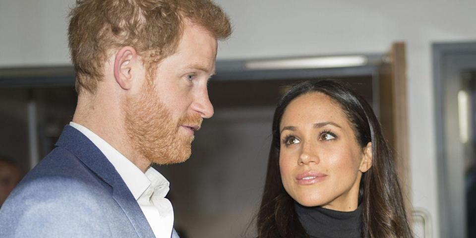 <p>Meghan Markle listened intently as Prince Harry addressed a group of students at Nottingham Academy. <br></p>