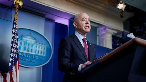 PHOTO: Secretary of Homeland Security Alejandro Mayorkas speaks during the daily press briefing at the White House on March 1, 2021, in Washington. (Drew Angerer/Getty Images)